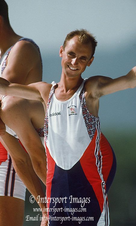 Barcelona,  SPAIN, GBR M2+ Greg and Jonny Searle: cox Garry Herbert at the 1992 Olympic Regatta. Lake Banyoles, Nr Barcelona SPAIN,  [Photo, Peter Spurrier/Intersport-images].......