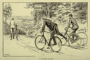 Dangerous hill ahead from 'Cycling' by The right Hon. Earl of Albemarle, William Coutts Keppel, (1832-1894) and George Lacy Hillier (1856-1941); Joseph Pennell (1857-1926) Published by London and Bombay : Longmans, Green and co. in 1896. The Badminton Library