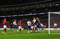 Football - 2018 / 2019 Premier League - Tottenham Hotspur vs. Manchester United<br /> <br /> Tottenham Hotspur's Hugo Lloris punches clear from a corner, at Wembley Stadium.<br /> <br /> COLORSPORT/ASHLEY WESTERN