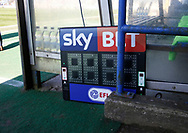 Sky Bet and EFL branding on the 4th officials board during the EFL Sky Bet League 1 match between Rochdale and Charlton Athletic at Spotland, Rochdale, England on 5 May 2018. Picture by Paul Thompson.