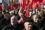 Moscow, Russia, 07/11/2010..Demonstrators cheer as members and supporters of the Russian Communist Party demonstrate to celebrate the 83rd anniversary of the October 1917 Bolshevik revolution. Russia no longer officially celebrates the anniversary of the 1917 Revolution that brought Vladimir Lenin to power and established communist rule in Russia and the Soviet Union over seven decades.