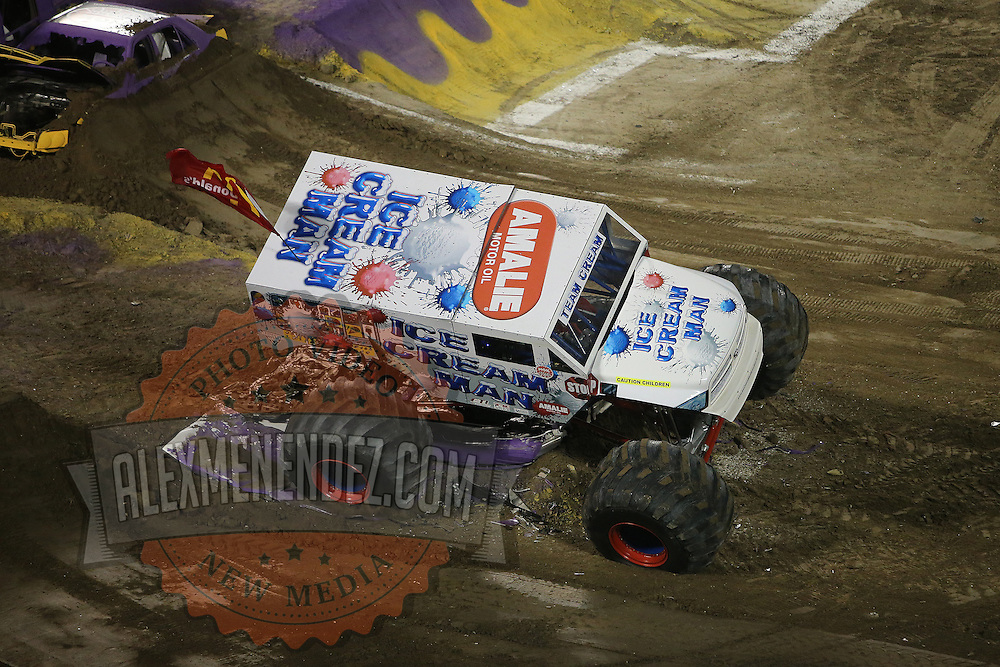 Monster truck Ice Cream Man is seen during the Monster Jam big truck event at the Citrus Bowl in Orlando, Florida on Saturday, January 25, 2014. (AP Photo/Alex Menendez)