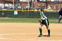 05 April 2008: Christy Engel pitches. The Carthage College Lady Reds lost the first game of this double header to the Titans of Illinois Wesleyan 4-1 at Illinois Wesleyan in Bloomington, IL