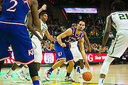 WACO, TX - JANUARY 7: Perry Ellis #34 of the Kansas Jayhawks drives to the basket against the Baylor Bears on January 7, 2015 at the Ferrell Center in Waco, Texas.  (Photo by Cooper Neill/Getty Images) *** Local Caption *** Perry Ellis