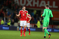 Gareth Bale of Wales reacts after the match having scored 2 goals in the 4-0 win. Wales v Moldova , FIFA World Cup qualifier at the Cardiff city Stadium in Cardiff on Monday 5th Sept 2016. pic by Andrew Orchard, Andrew Orchard sports photography