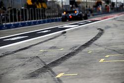 March 30, 2019 - Sakhir, Bahrain - Motorsports: FIA Formula One World Championship 2019, Grand Prix of Bahrain, ..track, Rennstrecke, tyres marks, skidmarks, Fahrbahn, Bremsspur, Bremsspuren, Strecke, Gummi, Spur, Reifenspuren, Reifenspur, Streifen, Asphalt, Abrieb, Gummi, marks  (Credit Image: © Hoch Zwei via ZUMA Wire)