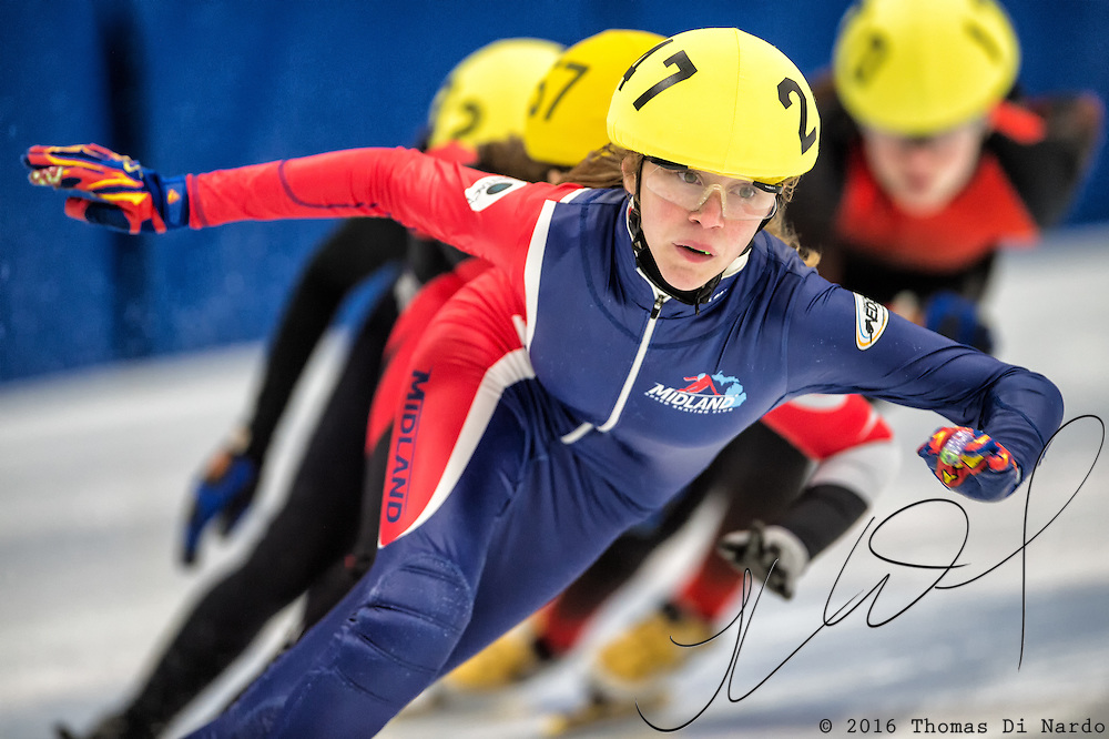 March 18, 2016 - Verona, WI - Ella Trosin, skater number 247 competes in US Speedskating Short Track Age Group Nationals and AmCup Final held at the Verona Ice Arena.