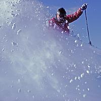 Tom Jungst powder skiing at Bridger Bowl, Montana.