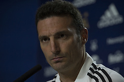March 21, 2019 - Madrid, Madrid, Spain - Argentina's national soccer team coach Lionel Scaloni attends a press conference in Madrid, Spain, Thursday, March 21, 2019. Argentina will play a friendly soccer match against Venezuela on Friday  (Credit Image: © Patricio Realpe/NurPhoto via ZUMA Press)