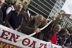 April 4, 2017 - Athens, Greece - Elderly people march, shouting slogans against the government. Pensioners' unions staged a demonstration to protest over further pension cuts. (Credit Image: © Nikolas Georgiou via ZUMA Wire)