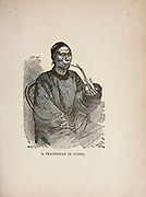 A tradesman in China from The merchant vessel : a sailor boy's voyages to see the world [around the world] by Nordhoff, Charles, 1830-1901 engraved by C. LaPlante; some illustrations by W.L. Wyllie Publisher New York : Dodd, Mead & Co. 1884