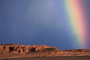 Flaming Cliffs & rainbow<br /> Gobi Desert<br /> Mongolia<br /> site of famous dinosaur finds from 1922 expedition