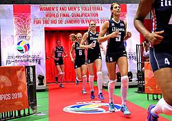 15-05-2016 JAP: OKT Nederland - Zuid Korea, Tokio<br /> Er is nog niets verloren, maar de volleybalsters van Oranje hebben tijdens het OKT een gevoelige 3-0 nederlaag geleden tegen Zuid-Korea / Robin de Kruijf #5, Quinta Steenbergen #7, Judith Pietersen #8