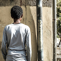 Awet, 15, arrived in the neighbourhood five months ago. He escaped with friends from a village 40 kilometres from Asmara. 'In Eritrea there is no future,' he says. He lived in a camp close to the border for two years. He has a brother in Sweden and is waiting for family reunification documents.