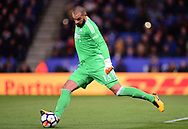 Boaz Myhill , the goalkeeper of West Bromwich Albion in action .Premier league match, Leicester City v West Bromwich Albion at the King Power Stadium in Leicester, Leicestershire on Monday 16th October 2017.<br /> pic by Bradley Collyer, Andrew Orchard sports photography.