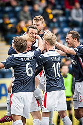 Falkirk players cele Mark Beck scoring their goal.<br /> Half time : Falkirk 1 v 1 Alloa Athletic, Scottish Championship game played today at The Falkirk Stadium.<br /> © Michael Schofield.