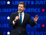 01 NOVEMBER 2019 - DES MOINES, IOWA: PETE BUTTIGIEG, Mayor of South Bend, IN, and candidate for president, speaks at the Liberty and Justice Celebration in the Wells Fargo Arena in Des Moines. The Liberty and Justice Celebration is a fund raiser for the Iowa Democratic Party. Many of the Democratic candidates for the US presidency spoke at the 2019 Celebration. Iowa holds the first presidential selection event of the 2020 election cycle. The Iowa Caucuses are Feb. 3, 2020.           PHOTO BY JACK KURTZ