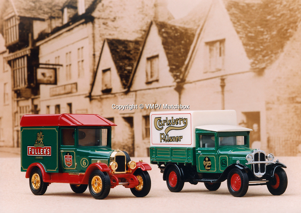 Model AA Ford Truck, Carlsberg Delivery Truck with Morris Light Fuller's Delivery Van, Matchbox Collections