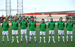 Republic of Ireland team group, (left to right): James McClean, Richard Keogh, Shane Duffy, David McGoldrick, Sean Maguire, Conor Hourihane, Jeff Hendrick and Enda Stevens during the UEFA Euro 2020 Qualifying, Group D match at the Victoria Stadium, Gibraltar.