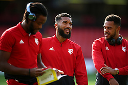 Watford's Adrian Mariappa inspects the pitch before the Premier League match at Vicarage Road, Watford