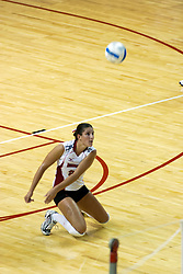 26 Aug 2005<br /> <br /> Savannah Knowles goes to the floor for a dig.<br /> <br /> The Illini beat the Redbirds in the seasons opener for both team in 5 games 30-24, 30-19, 23-30, 30-21, 15-11.  Redbird Areana, Illinios State University, Normal, IL