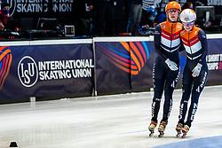 Suzanne Schulting of Netherlands, Yara van Kerkhof of Netherlands after 3000 meter relay during ISU World Short Track speed skating Championships on March 06, 2021 in Dordrecht