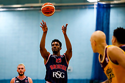Marcus Delpeche of Bristol Flyers shoots - Photo mandatory by-line: Robbie Stephenson/JMP - 10/04/2019 - BASKETBALL - UEL Sports Dock - London, England - London Lions v Bristol Flyers - British Basketball League Championship