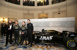 Rich Energy CEO William Storey, Romain Grosjean, Kevin Magnussen, and Team Principal Guenther Steiner and during the Rich Energy Haas F1 Team 2019 car launch at the Royal Automobile Club, London.