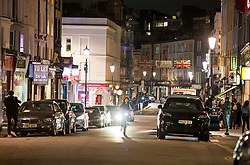 © Licensed to London News Pictures. 25/09/2020. London, UK. A normally bustling Portobello Road in Notting Hill, west London looks empty of people before before a 10pm curfew comes in to place as part of new restrictions intended to prevent the spread of COVID-19. Photo credit: Ben Cawthra/LNP