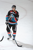 KELOWNA, CANADA, OCTOBER 11:  Tyrell Goulbourne #12 of the Kelowna Rockets stands on the ice as the Medicine Hat Tigers visited the Kelowna Rockets on October 11, 2011 at Prospera Place in Kelowna, British Columbia, Canada (Photo by Marissa Baecker/shootthebreeze.ca) *** Local Caption ***Tyrell Goulbourne;
