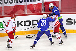 Ales Kranjc of Slovenia, Luka Vidmar of Slovenia during Ice Hockey match between National Teams of Slovenia and Poland in Round #2 of 2018 IIHF Ice Hockey World Championship Division I Group A, on April 23, 2018 in Budapest, Hungary. Photo by David Balogh / Sportida