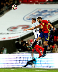 Aaron Cresswell of England battles for a header with Dani Carvajal of Spain - Mandatory by-line: Robbie Stephenson/JMP - 15/11/2016 - FOOTBALL - Wembley Stadium - London, United Kingdom - England v Spain - International Friendly