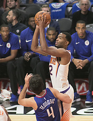 October 21, 2017 - Los Angeles, California, U.S - Eric Bledsoe #2 of the Phoenix Suns takes a shot during their regular season game against the Los Angeles Clippers on Saturday October 21, 2017 at the Staples Center in Los Angeles, California. Clippers defeat Suns, 130-88. (Credit Image: © Prensa Internacional via ZUMA Wire)