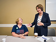15 JULY 2019 - DES MOINES, IOWA: Senator AMY KLOBUCHAR (D-MN), right, talks to MARTI ANDERSON, an Iowa State Representative, after a roundtable about senior citizen issues in Des Moines. Sen. Klobuchar hosted a roundtable on issues important to older Americans at a community center in Des Moines. Klobuchar is running to be the Democratic candidate for President in the 2020 election. Iowa hosts the first event of the Presidential election cycle. The Iowa Caucuses are on February 3, 2019.        PHOTO BY JACK KURTZ