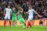 England (8) Jordan Henderson and Slovenia (6)Rene Krhin  during the FIFA World Cup Qualifier match between England and Slovenia at Wembley Stadium, London, England on 5 October 2017. Photo by Sebastian Frej.