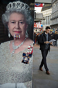 Queen Elizabeth II poster at Leicester Square in London, England, United Kingdom.