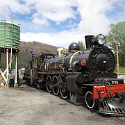 Train staff replenish coal and water on the Kingston Flyer vintage steam train at Saturday's relaunch of the historic locomotives at Fairlight near Queenstown, Central Otago, New Zealand, 29th October 2011. Photo Tim Clayton...