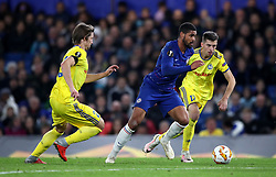 Chelsea's Ruben Loftus-Cheek runs through BATE Borisov's Dzmitry Baha (left) and Aleksey Rios (right) during the UEFA Europa League, Group L match at Stamford Bridge, London.
