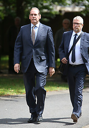 © Licensed to London News Pictures. 09/08/2017. Warrington, UK. Former West Yorkshire Police Chief Sir Norman Bettison (left) arrives at Warrington Magistrates Court. Former West Yorkshire Police Chief Sir Norman Bettison, former police officers Donald Denton and Alan Foster, South Yorkshire Police solicitor Peter Metcalf, and former Sheffield Wednesday secretary and safety officer Graham Mackrell are appearing at Warrington Magistrates Court today to face charges relating to the Hillsborough tragedy where 96 people died in 1989. Photo credit: Andrew McCaren/LNP