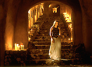 Faith D'Aluisio on lower staircase of Menzel & D'Aluisio cave. Napa Valley, California, USA. ((PRIV)).