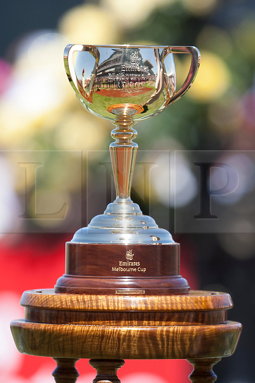 © Licensed to London News Pictures. 5/11/2013. The Melbourne cup Trophy during Melbourne Cup Day at Flemington Racecourse on November 5, 2013 in Melbourne, Australia. Photo credit : Asanka Brendon Ratnayake/LNP