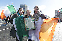 Cousins, Megan Barera, Noelle Djennadi, and Claire Barea, from Carberry, Kildare pictured during the centenary Easter Rising Parade at Cuffe Street in Dublin. Picture credit; Damien Eagers 27/3/2016