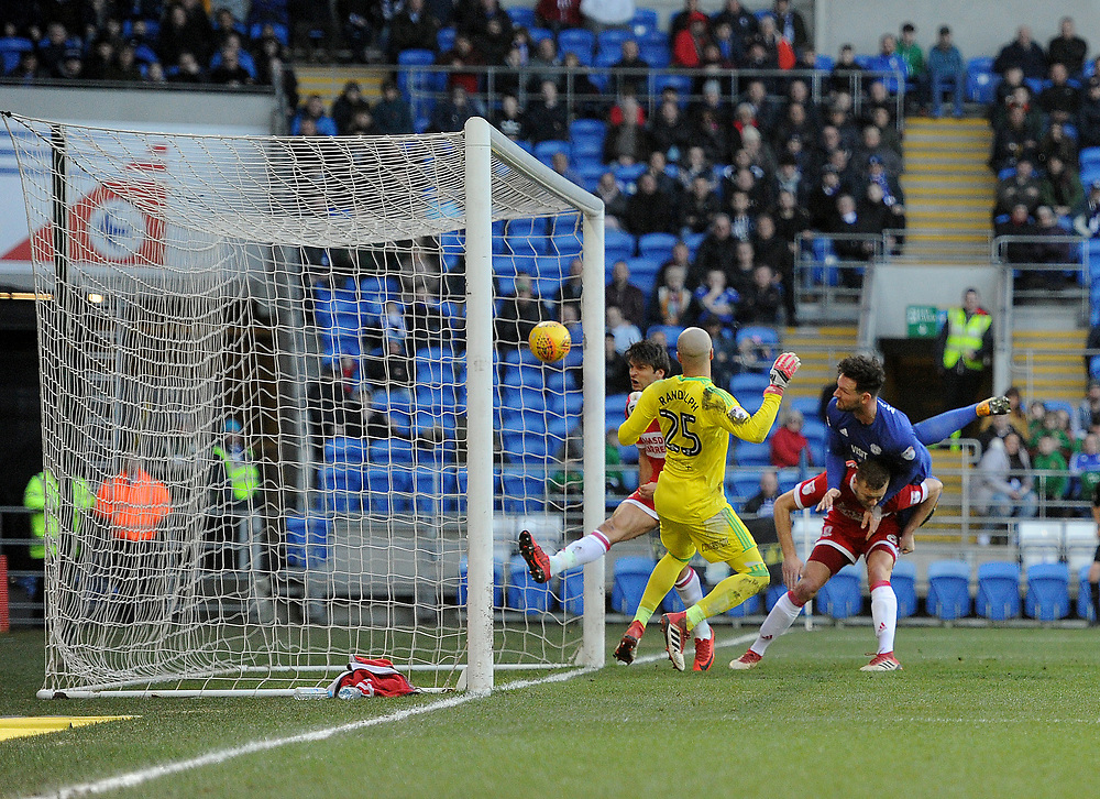 GOAL - Cardiff City's Sean Morrison scores the opening goal <br /> <br /> Photographer Ashley Crowden/CameraSport<br /> <br /> The EFL Sky Bet Championship - Cardiff City v Middlesbrough - Saturday 17th February 2018 - Cardiff City Stadium - Cardiff<br /> <br /> World Copyright © 2018 CameraSport. All rights reserved. 43 Linden Ave. Countesthorpe. Leicester. England. LE8 5PG - Tel: +44 (0) 116 277 4147 - admin@camerasport.com - www.camerasport.com