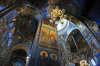 The ceiling of the Church of Our Savior on the Spilled Blood in St. Petersburg, Russia. Closed for restoration for nearly 30 years, it reopened in 1997.