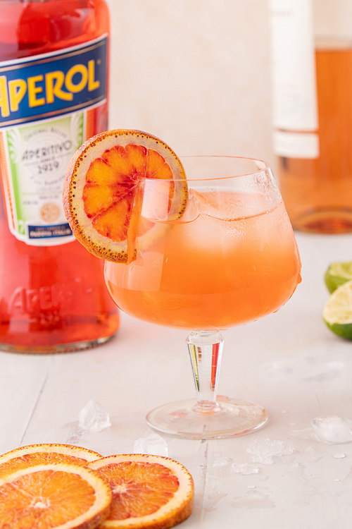 Rose and Aperol cocktail styled and Photographed for Oregon Wine Press. The recipe comes from Stoller Winery