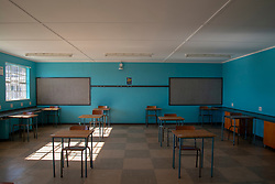 The Stellenzicht Secondary School, in Jamestown, Stellenbosch, remained closed on Monday, June 1st, 2020, the day the South African government had originally said schools would open for grade 7 and grade 12 learners. When the school opens, only the school's 76 Grade 12 Learners are set to return. They will be divided into several groups and split into several classrooms, and only allowed to sit at a desk designated with their nametag. Many schools in the Western Cape opened their doors to students on Monday, despite the national government's last minute delay of the school start to June 8, for higher COVID-19 readiness. The province is now facing legal action from the SA Human Rights Commission for the decision to open schools on June 1st. PHOTO: EVA-LOTTA JANSSON