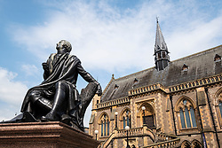 View of the McManus art gallery and museum and Robert Burns statue  in Dundee, Tayside, Scotland, UK
