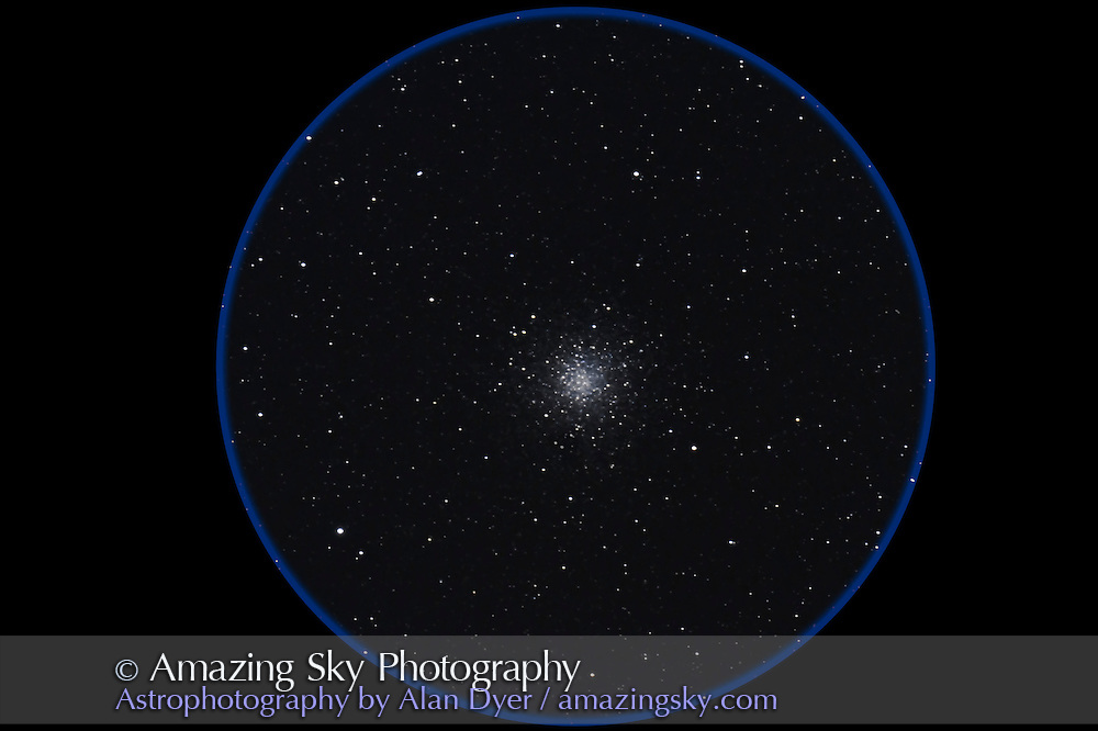 Messier 10 globular cluster in Ophiuchus taken July 30, 2011 from home with 130mm Astro-Physics refractor and Canon 7D camera, for stack of 5 x 5 minute exposures at ISO 1600 and f/6. Some trailing. Object was low in southwest.