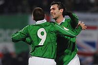 Fotball<br /> Liechtenstein v Nord Irland<br /> 24.03.2007<br /> Foto: Gepa/Digitalsport<br /> NORWAY ONLY<br /> <br /> David Healy und Keith Gillespie (NIR)