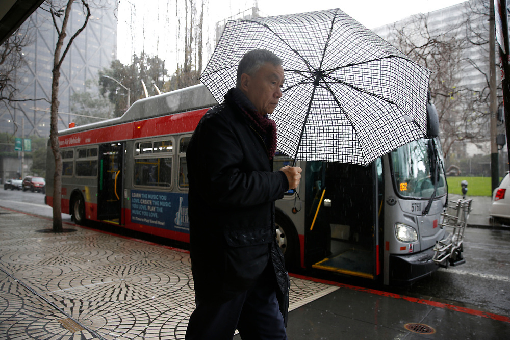 during a storm on Saturday, Feb. 9, 2019, in San Francisco, Calif.